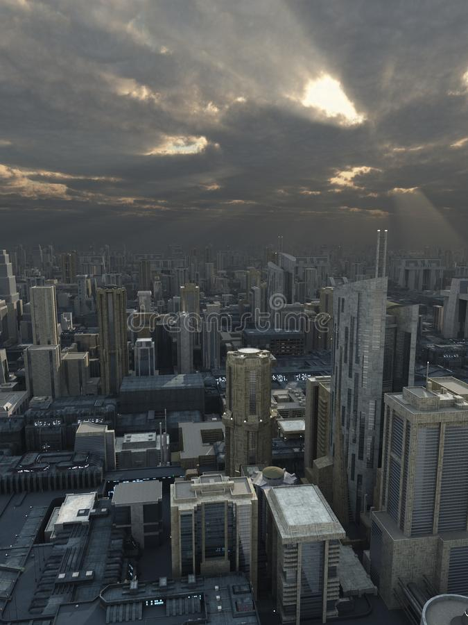 Città futura con passare tempesta illustrazione vettoriale
