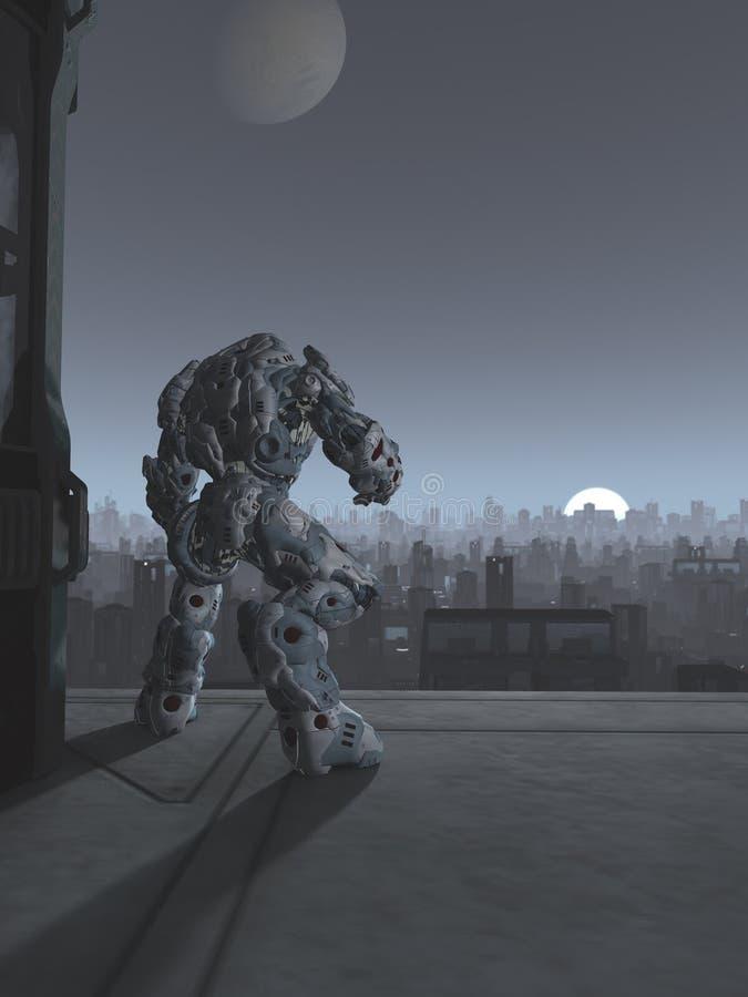 Città futura - sentinella del robot all'aumento della luna illustrazione di stock