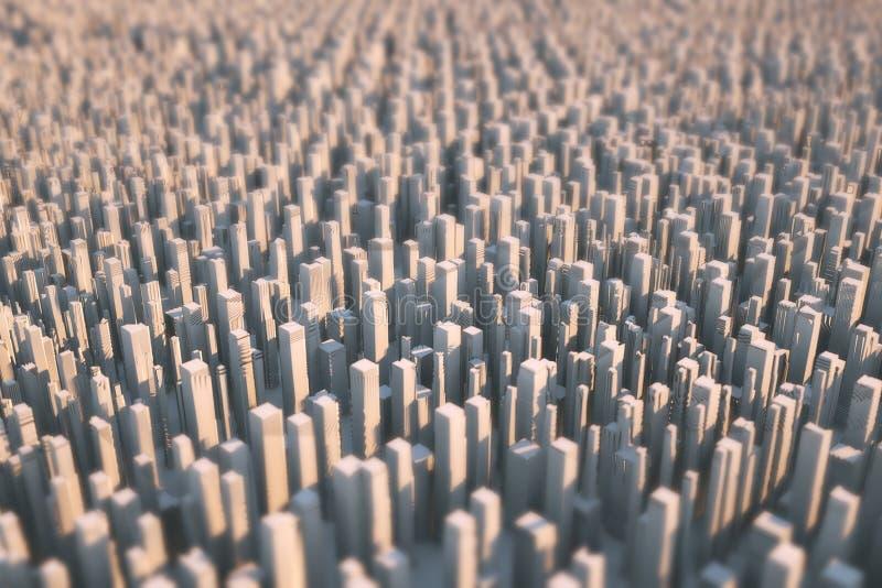 Città futuristica astratta che consiste soltanto dai grattacieli accesi dal sole La parte dei precedenti è offuscata 3d fotografie stock libere da diritti