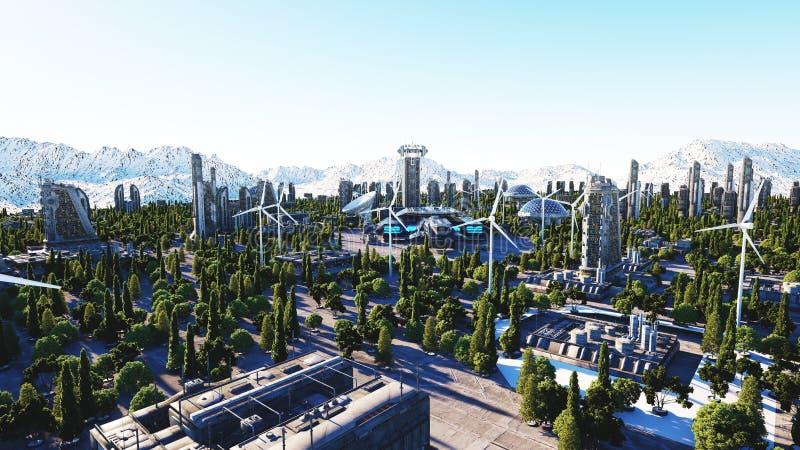 Citt futuristica citt architettura del futuro siluetta for Programmi 3d architettura
