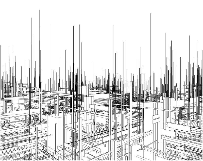 Città futuristica della megalopoli del vettore dei grattacieli illustrazione vettoriale