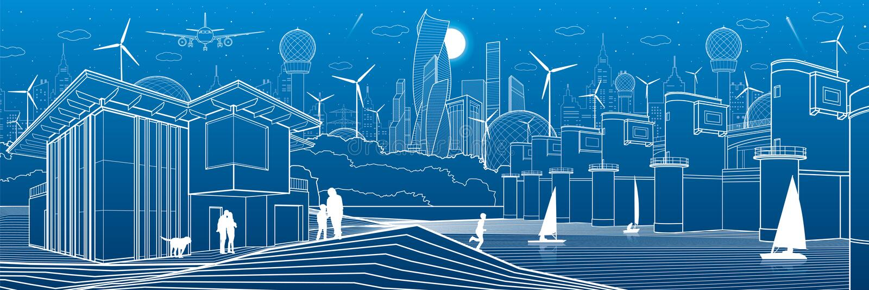 Città futuristica Vita urbana Infrastruttura della città Illustrazione industriale Diga del fiume Stazione di forza idroelettrica royalty illustrazione gratis