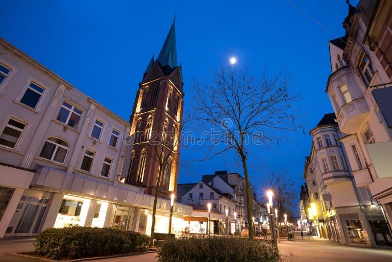 città Germania di Herne nella sera fotografie stock libere da diritti