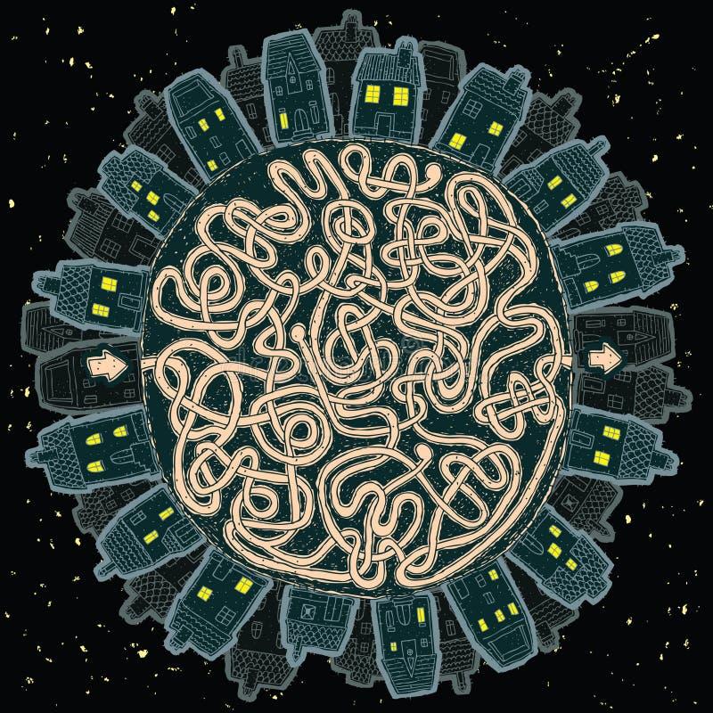 Città globale al gioco del labirinto di notte illustrazione vettoriale