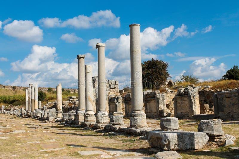Città greco-romana antica di Perge a Adalia immagini stock