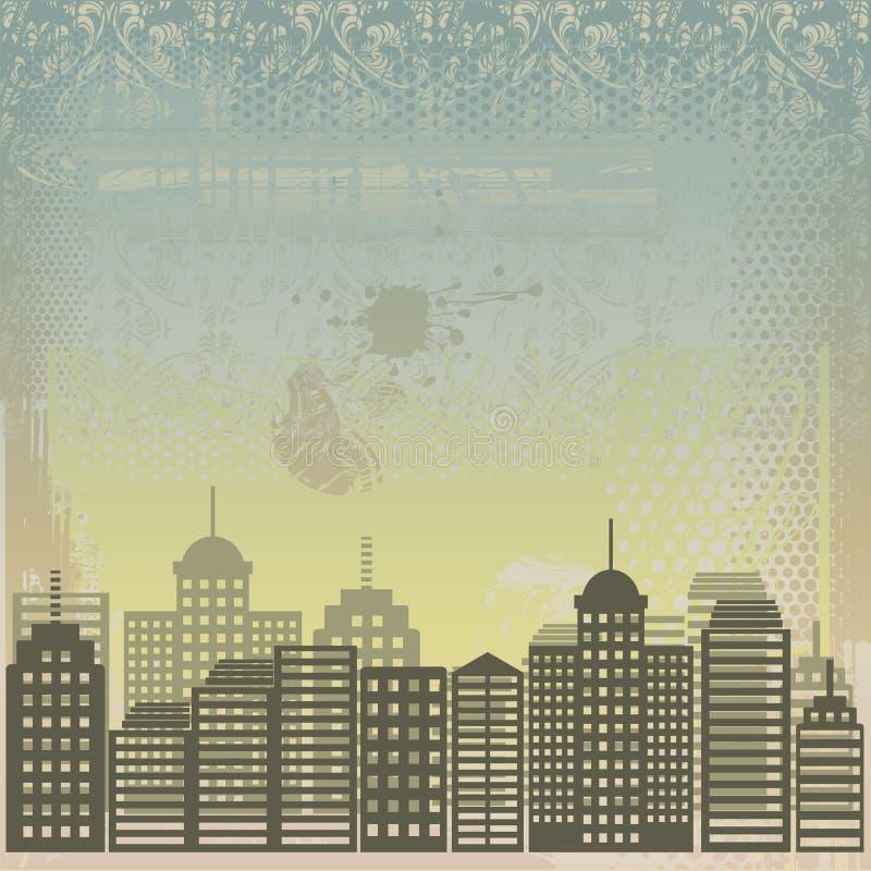 Città Grungy nel vettore illustrazione vettoriale