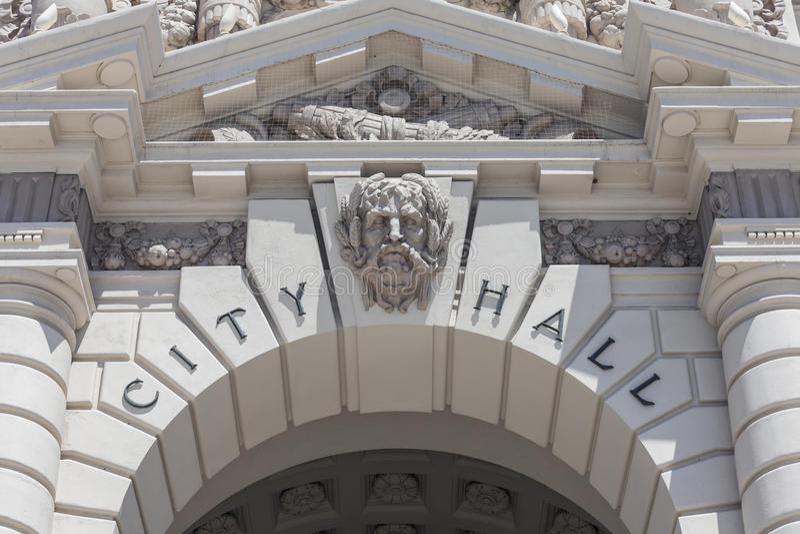Città Hall Sign Detail di Pasadena immagini stock