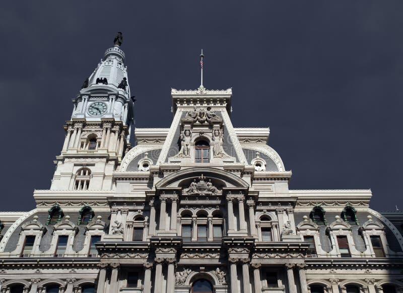Città Hall Thunderstorm di Filadelfia fotografie stock