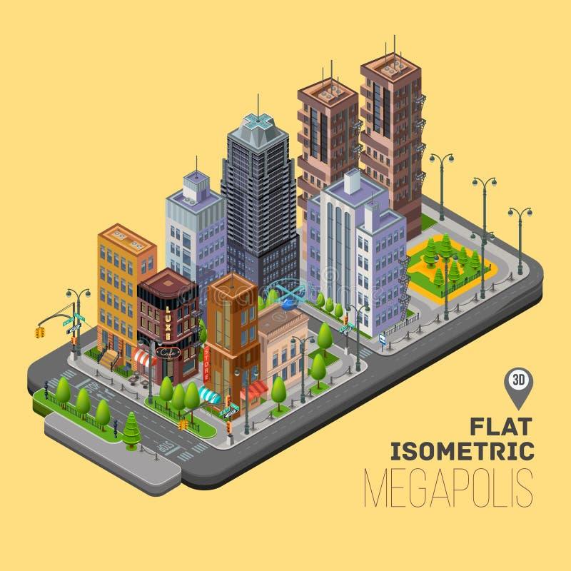Città isometrica, concetto di megapolis con il vettore 3d illustrazione di stock