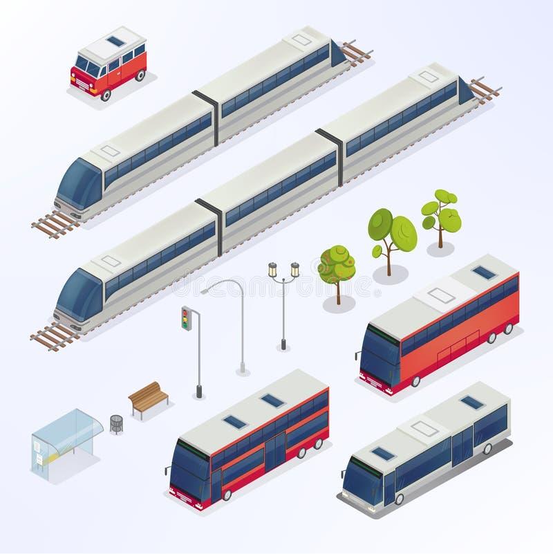 Città isometrica Elementi urbani Bus isometrico illustrazione vettoriale
