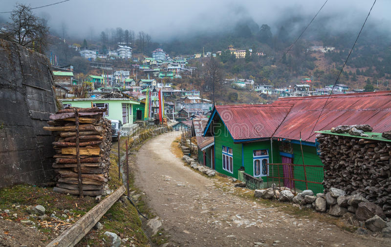 Città Lachen del paesino di montagna del Sikkim del nord, India immagine stock libera da diritti