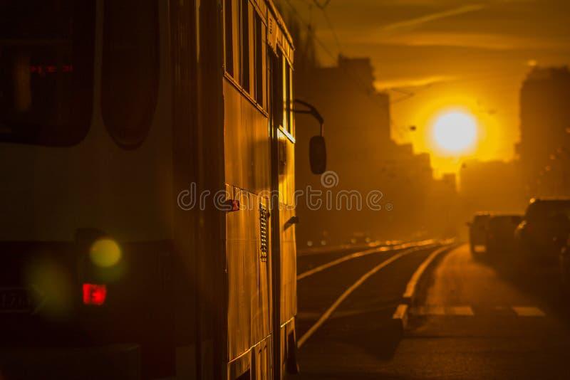 Città, linea tranviaria fotografie stock