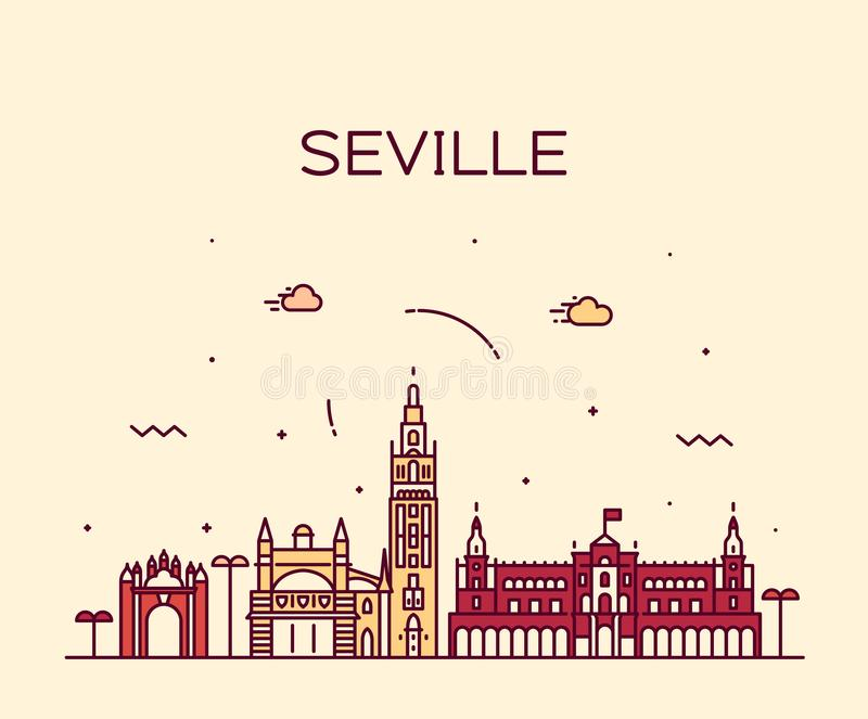 Città lineare di stile di vettore della Spagna dell'orizzonte di Siviglia illustrazione di stock