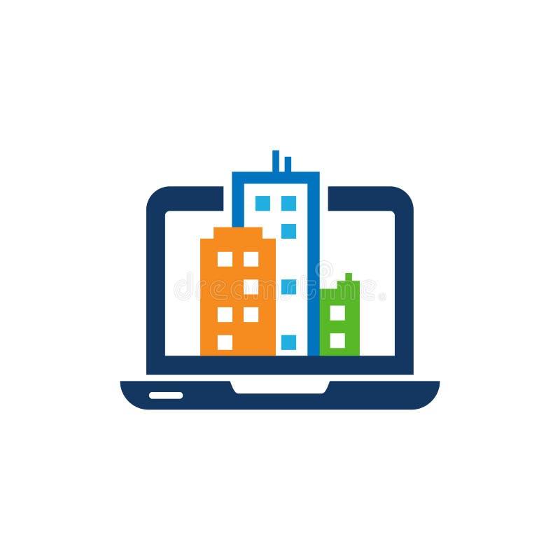 Città Logo Icon Design del computer portatile illustrazione vettoriale