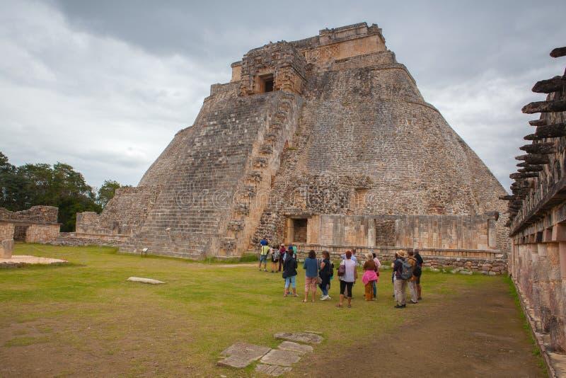 Città maestosa di maya di rovine in Uxmal, Messico immagine stock libera da diritti
