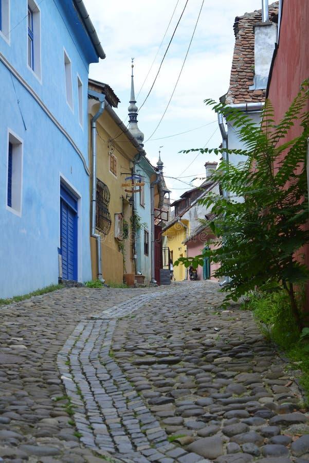 Città medioevale del sighisoara Mattone, pavimentazione fotografia stock libera da diritti