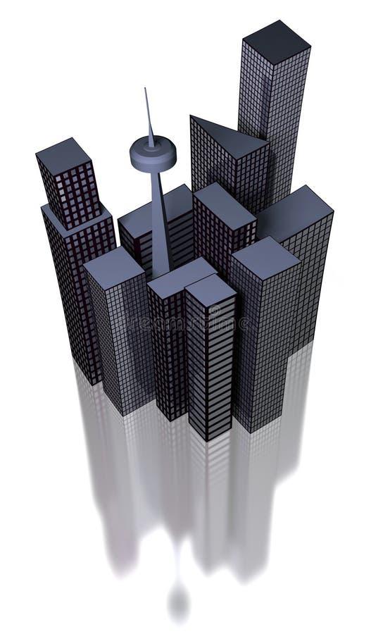 Città moderna e riflessione illustrazione vettoriale
