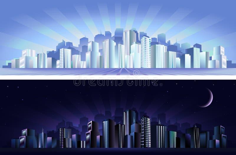 Download Città Moderna - Giorno & Notte Illustrazione Vettoriale - Illustrazione di centro, moderno: 3892001