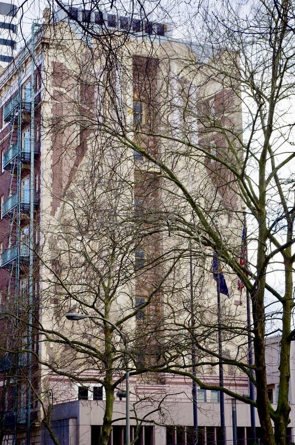 Città murala della grande costruzione urbana, Portland, Oregon, U.S.A. fotografia stock libera da diritti
