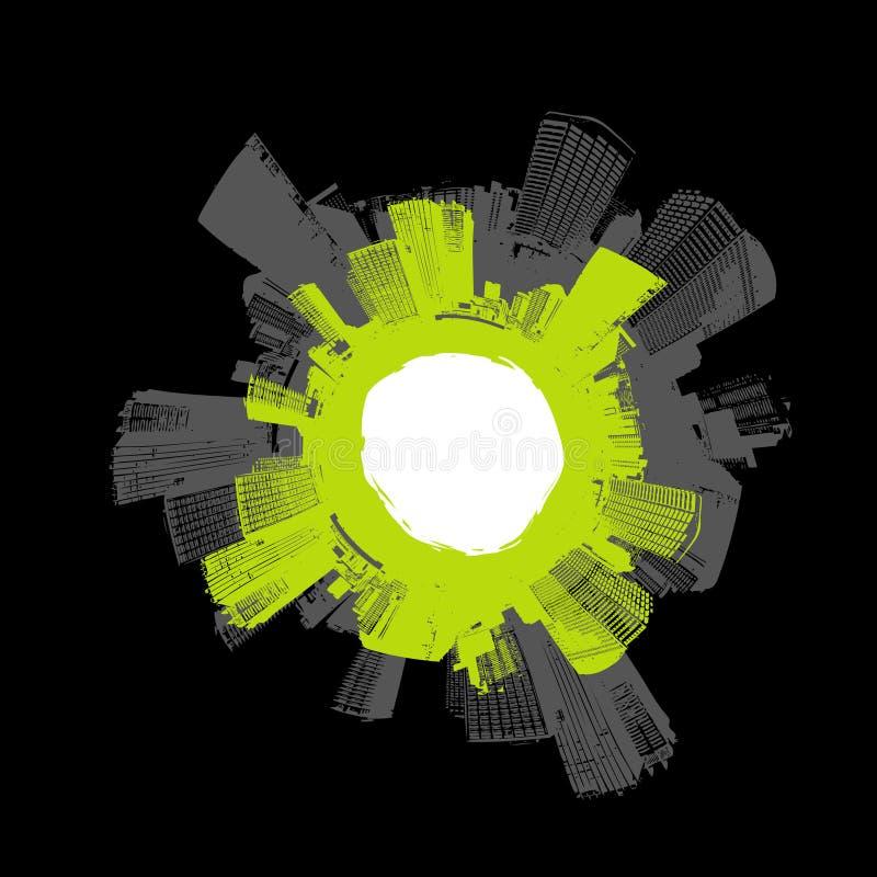 Città nel cerchio con verde. illustrazione di stock
