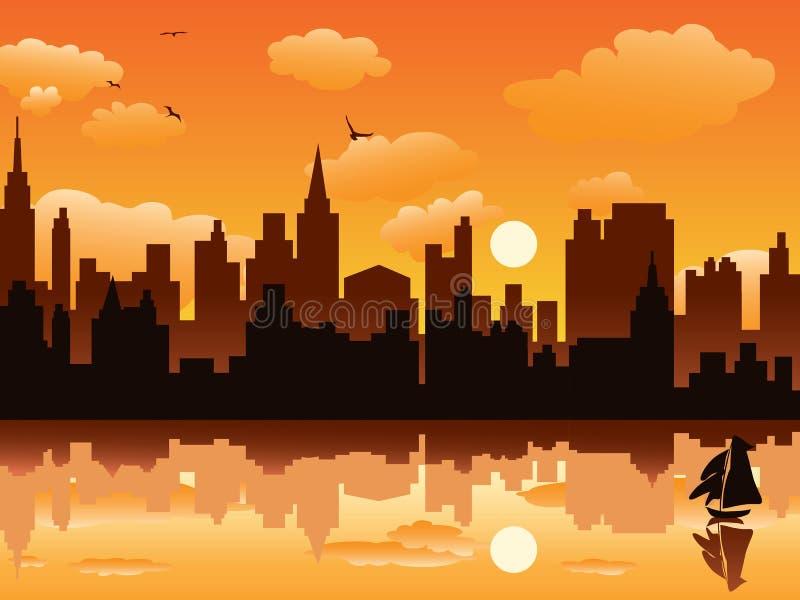 Città nel tramonto royalty illustrazione gratis