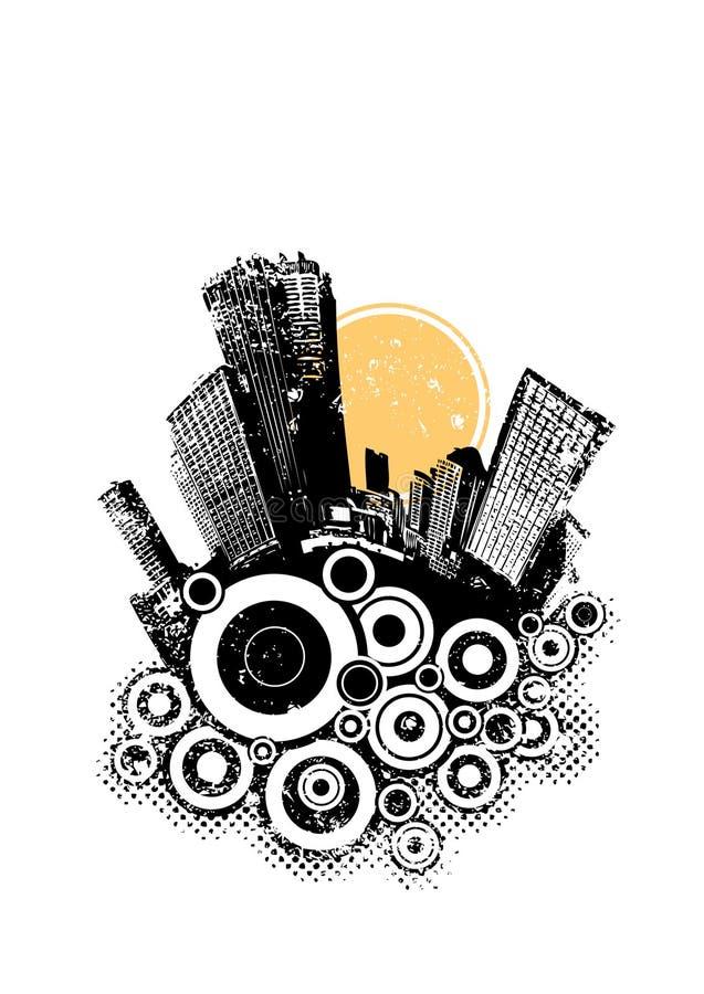 Città nera con i cerchi illustrazione di stock