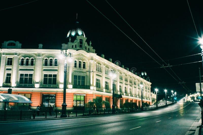 Città Omsk, via di Lenin fotografie stock libere da diritti