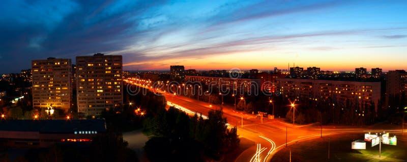 Città panoramica di notte immagini stock libere da diritti