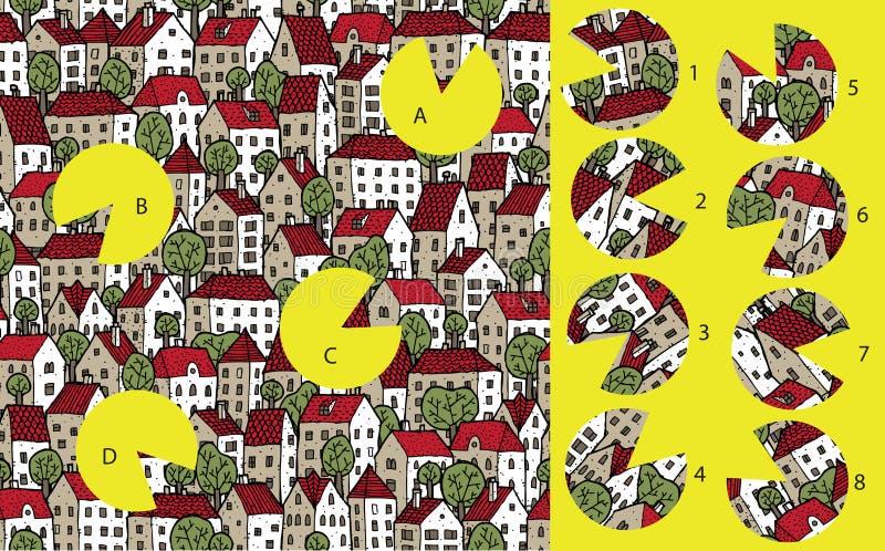 Città: Pezzi della partita, gioco visivo Soluzione nello strato nascosto! illustrazione vettoriale