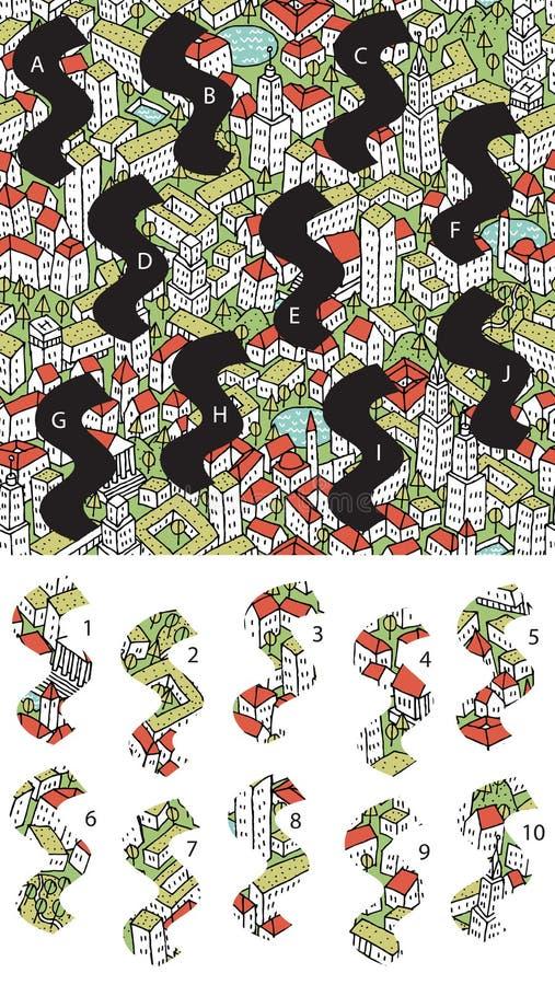 Città: Pezzi della partita, gioco visivo Soluzione nello strato nascosto! illustrazione di stock
