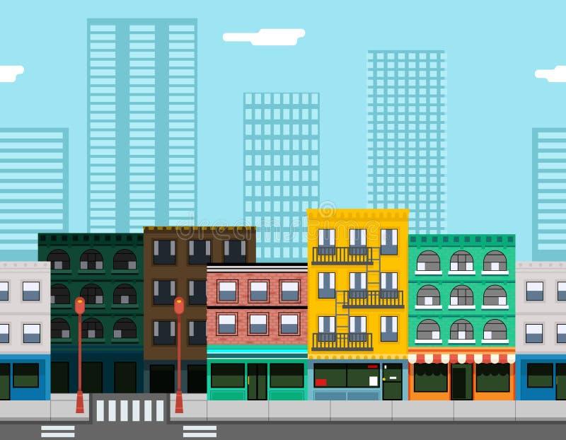 Città piana di progettazione della città di concetto senza cuciture della via illustrazione di stock