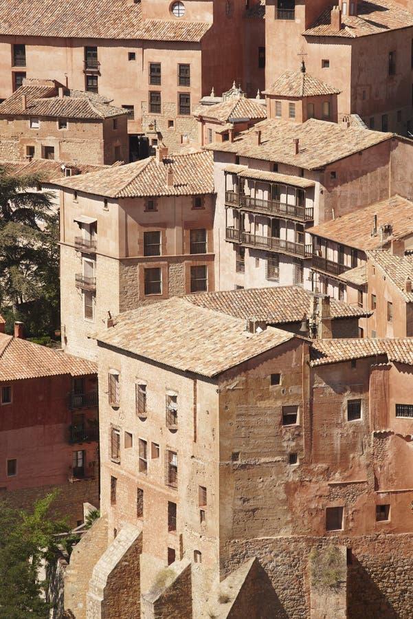 Città pittoresca in Spagna Case antiche Albarracin Teruel fotografia stock