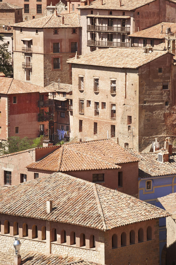 Città pittoresca in Spagna Case antiche Albarracin Teruel immagine stock libera da diritti