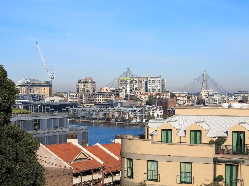 Città a Pyrmont, ponticello di Sydney di Anzac fotografia stock libera da diritti