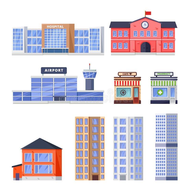 Città residenziale, costruzioni non residenziali, icone di vettore messe Oggetto municipale del bene immobile isolato su fondo bi illustrazione di stock