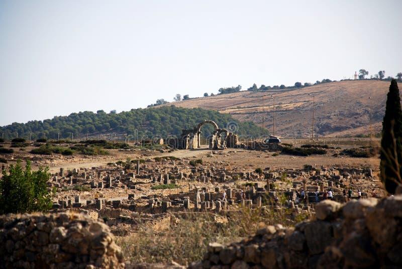 Città romana di Volubilis vecchia immagine stock libera da diritti