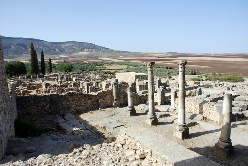 Città romana di Volubilis vecchia fotografie stock