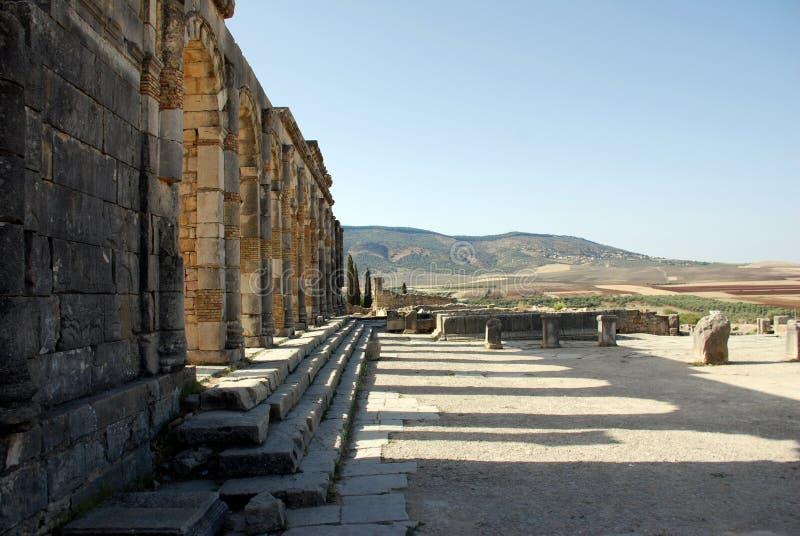 Città romana di Volubilis vecchia fotografie stock libere da diritti