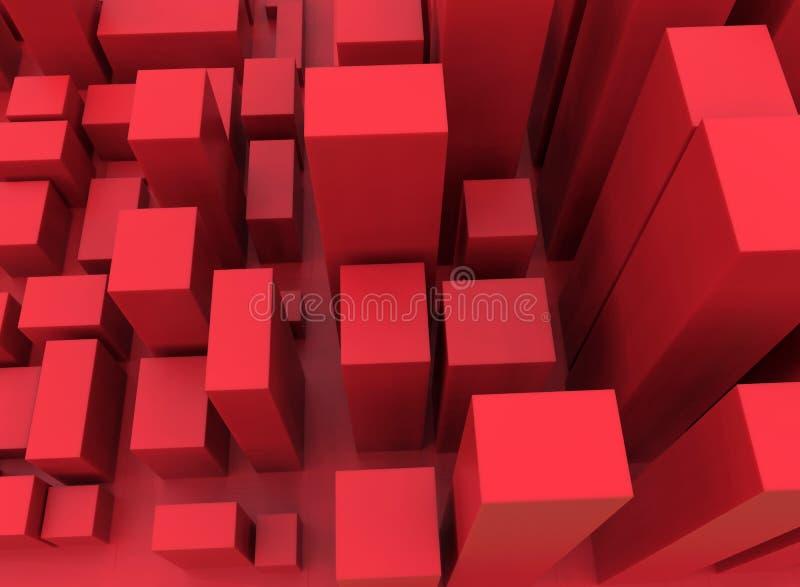 Città rossa astratta del cubo illustrazione di stock