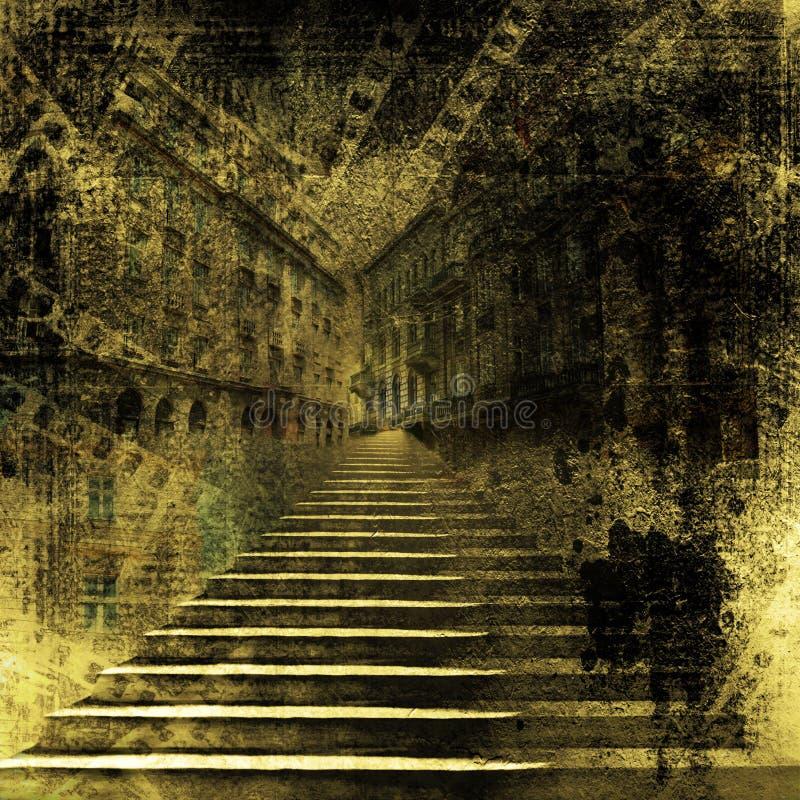 Città singolare con le vecchie scale di pietra fotografie stock libere da diritti