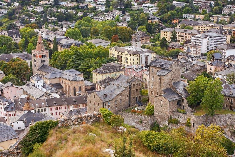 Città Sion, capitale del cantone svizzero del Valais, Svizzera fotografia stock libera da diritti