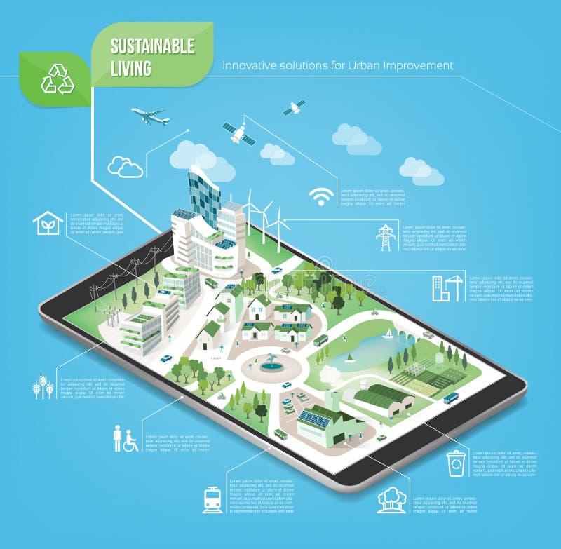 Città sostenibile illustrazione di stock