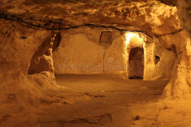 Città sotterranea di Derinkuyu, Cappadocia immagini stock libere da diritti