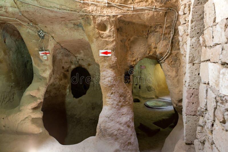 Città sotterranea di Derinkuyu, Cappadocia fotografie stock libere da diritti