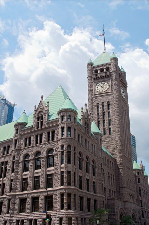 Città storica Hall Corner di Minneapolis immagine stock libera da diritti