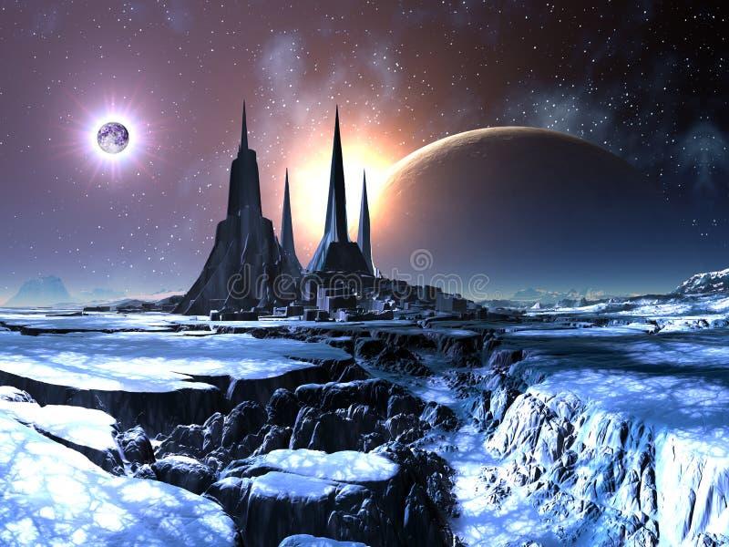 Città straniera persa in neve illustrazione di stock