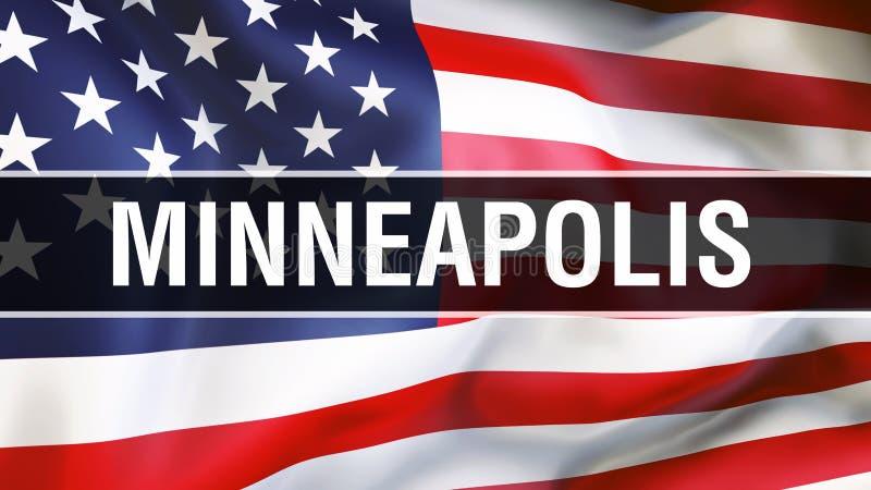 Città su un fondo della bandiera di U.S.A., di Minneapolis rappresentazione 3D Bandiera degli Stati Uniti d'America che ondeggia  illustrazione vettoriale