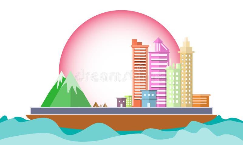 Città sulla nave nell'ambiente di mondo di conservazione di concetto del mare Progettazione piana di scena di progettazione geome illustrazione vettoriale