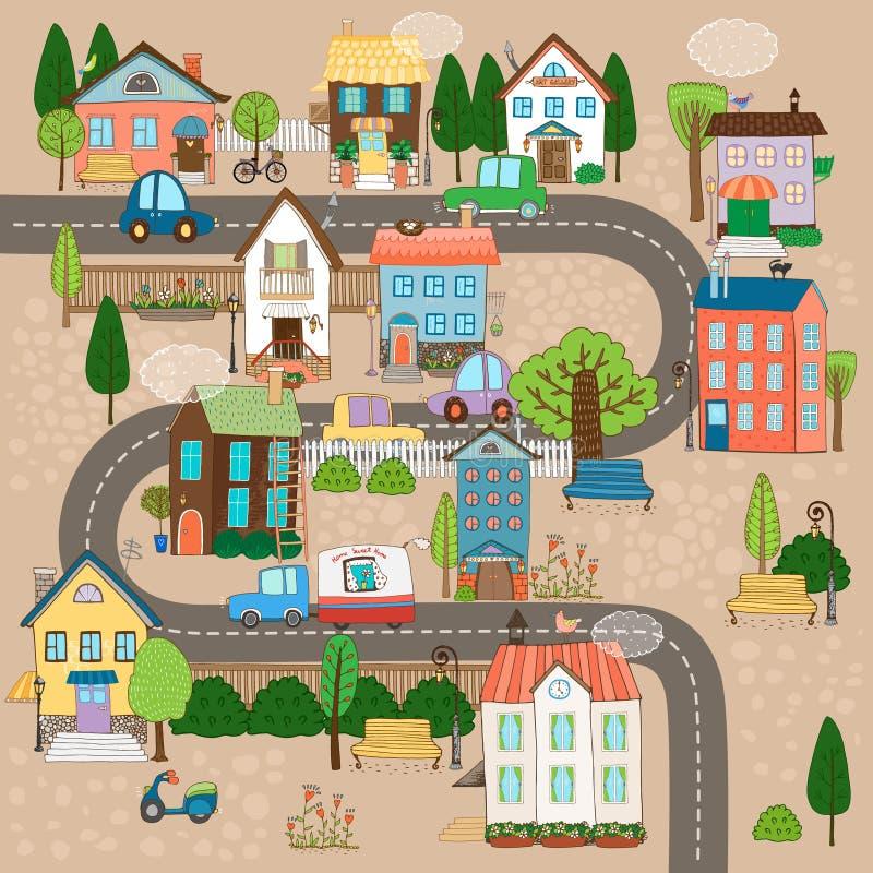 Città sulla strada illustrazione vettoriale