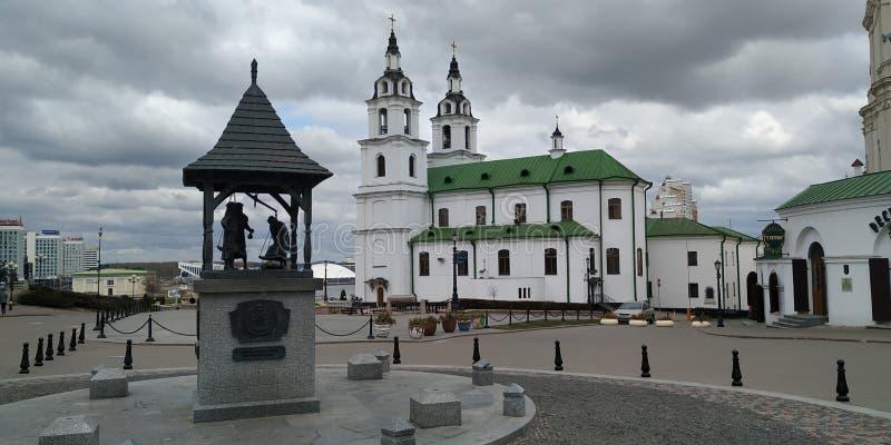 Città superiore, Minsk, centro storico, cattedrale di Spirito Santo antico e fotografia stock